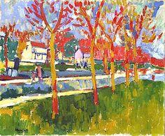 """The Locks at Bougival. Maurice de Vlaminck (París, 4 de abril de 1876 - Eure-et-Loir, 11 de octubre de 1958) fue un pintor fauvista francés. Vlaminck fue uno de los pintores que causaron escándalo en el Salón de otoño de 1905, que recibió el apelativo de """"jaula de fieras"""", dando nombre al movimiento del que formaba parte junto a Henri Matisse, André Derain, Raoul Dufy y otros."""