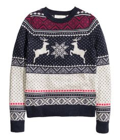 Jacquard-knit jumper: Long-sleeved, jacquard-knit jumper in a cotton blend containing some alpaca wool. Winter Sweaters, Sweater Weather, Christmas Sweaters, Ugly Sweater, Sweater Hoodie, Pull Jacquard, Winter Wear, Online Shopping Clothes, Cardigans For Women