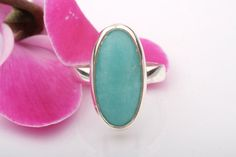 Amazonite Silver Ring. Silver Ring with Big Amazonite Cabochon.