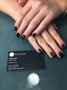Plum and grey nails