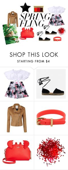"""Spring is coming"" by elenavisual-lomonaco on Polyvore featuring moda, TOMS, George, Marc by Marc Jacobs, Kate Spade, MAC Cosmetics, Spring, black e coral"