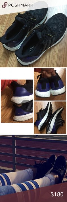 Adidas ultra boost Size 6 in purple and black. As seen on Khloe Kardashian. I wore these half a dozen times and they felt amazing! Selling because I bought another pair of boosts in white & grey. Condition is 8/10, minor scuffs shown. Will come with an Adidas pure boost shoe box but not the original ultra boost box since I threw it away. I paid well over $200 for these and above market price! NO TRADES. Adidas Shoes Athletic Shoes