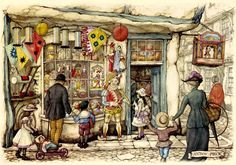Toy Store - Anton Pieck, Dutch painter, artist and graphic artist. doll shopping
