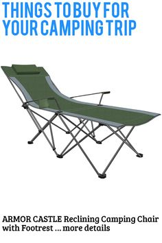 (This is an affiliate pin) ARMOR CASTLE Reclining Camping Chair with Footrest Adjustable Mesh Folding Chair for Adult 300lb Camping Furniture, Camping Chair, Outdoor Furniture, Outdoor Decor, Folding Beach Lounge Chair, Folding Chair, Footrest, Things To Buy, Recliner