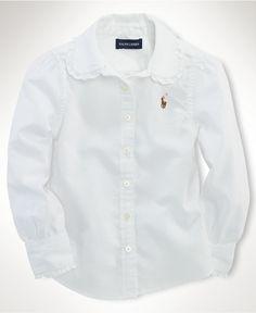 Classic white shirt with just a hint of ruffle. Ralph Lauren Kids Shirt, Little Girls Oxford Shirt - Kids - Macy's $39.50 #MacysBTS