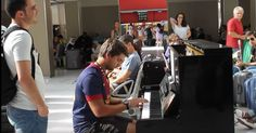 """Gerald Pla Daro from Spain a Christian/Nassim Zaouche from Algeria a Muslin-Complete strangers started playing a public piano in the station. 1st # """"Untouchables"""" 2nd # """"Braveheart"""". It was amazing!!!"""