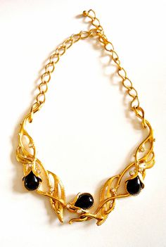 Black Gold Tone Necklace Barrera 'Granada' for by RenaissanceFair