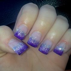 Six prom-perfect nail art ideas! What's your mani plan for the big night? Six prom-perfect nail art Sparkly Nails, Fancy Nails, Purple Nails, Trendy Nails, Glitter Nails, Glitter French Manicure, Hot Nail Designs, Toe Designs, Purple Sparkle