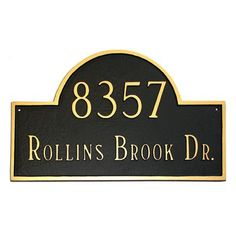 Montague Metal Products Estate Classic Arch Address Plaque Finish: Black / White, Mounting: Wall