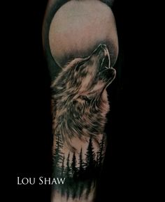 Wolf and moon portrait by Lou Shaw from Aldinga Beach SA. https://www.facebook.com/loushawtattoo http://fouracestattoo.tumblr.com/ Instagram: loushawtattoos