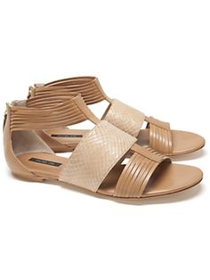 Rachel Zoe Snake/Leather Back Zip Sandal via @INTERMIX #INTERMIXPureWow
