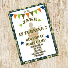 Boot Camp Party invitation- Army Birthday Invitation- Digial File, print yourself - Soldier - Military