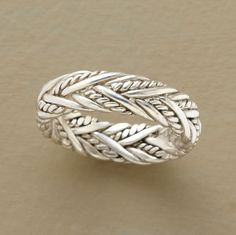 Sweetgrass Band.  Plaited sterling silver entwined around your finger adds texture and originality to our simple handcrafted band.  Sundance.
