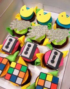 80's retro themed cupcakes