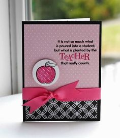 Teacher pink apple card from 2009 by Lisa Johnson Teacher Appreciation Cards, Teacher Thank You Cards, Teacher Gifts, Teacher Stuff, Teachers Day Card Design, Teachers Day Drawing, Teachers Day Special, Happy Teachers Day, Pink Apple
