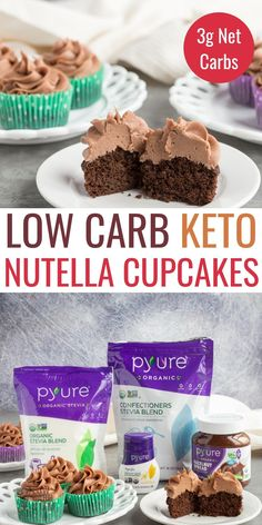 Deliciously moist keto chocolate cupcakes topped with a sugar-free cream cheese hazelnut frosting. You'll love the flavor of these easy low carb cupcakes made with coconut flour. Nutella Frosting, Nutella Cupcakes, Chocolate Cupcakes, Low Calorie Desserts, Easy Desserts, Diabetic Desserts, Low Carb Keto, Low Carb Recipes, Healthy Recipes