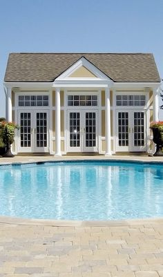 """pool house (Now this would be a dream of a """"she shed"""" with a gorgeous pool in front. Just photo no details on site.)"""