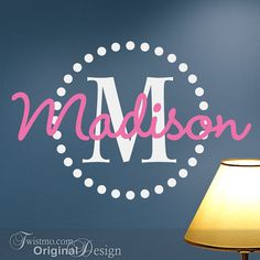 Monogram Vinyl Wall Decal with Name: This popular polka dots circle design is a fun way to include a monogram and scripty name in a bedroom. http://Twistmo.com/shop $25.00
