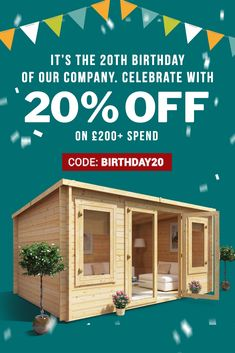 For Our Company's Birthday We are Giving Back To Our Loyal Customers With Off Everything Over That Means When You Buy Your Favourites From Our Fantastic Ranges of Sheds, Playhouses, Log Cabins & Much More You Can Save Up to Hurry & Buy Today! Modern Architecture House, Chinese Architecture, Futuristic Architecture, Modern Houses, Garden Cabins, Garden Sheds, Backyard Play, Backyard Landscaping, Facade House
