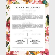 template pack for a professionally designed and very easy to customize 1 or 2 page resume and matching cover letter + references page.