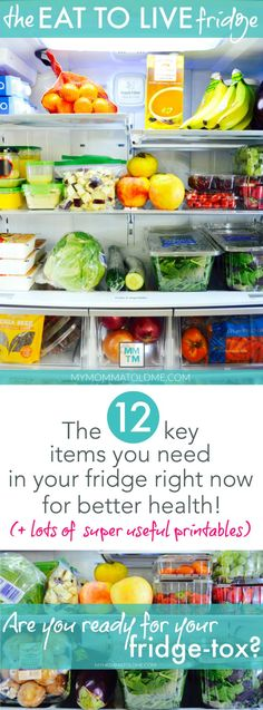 The Eat to Live Fridge What to put in your fridge when you're on Dr. Fuhrman's Eat to Live program! Learn how to makeover your refrigerator now for healthy clean-eating! Healthy Habits, Healthy Snacks, Healthy Recipes, Healthy Drinks, Eat To Live Diet, Healthy Fridge, Nutritarian Diet, Clean Eating Diet, Eating Healthy
