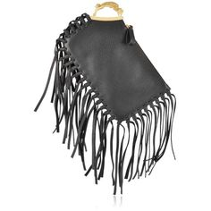 Valentino Gryphon Finger Clutch ($1,595) ❤ liked on Polyvore featuring bags, handbags, clutches, valentino, borse, valentino handbag, fringe clutches, valentino purses, fringe handbags and fringe purse