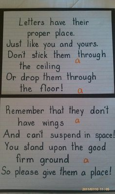 This is a short poem that describes line placement in handwriting. The poem visually represent errors in placement and students are able to determine if they are placing their letters correctly on their page. 1st Grade Writing, Kindergarten Literacy, Teaching Writing, Writing Activities, Teaching Ideas, Teaching Tools, Kindergarten Handwriting, Teaching Handwriting, Improve Handwriting