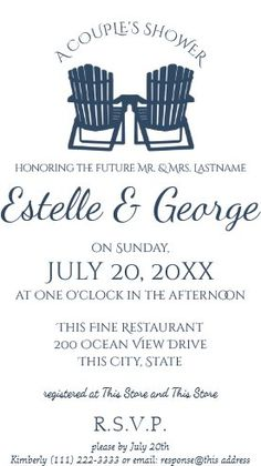 """Adirondack Chairs Couple's Shower Invitation. Size: 5"""" x 7"""" Make custom invitations and announcements for every special occasion! Choose from twelve unique paper types, two printing options and six shape options to design a card that's perfect for you. Size: 5"""" x 7"""" (portrait) or 7"""" x 5"""" (landscape) Standard white envelope included Add photos and text to both sides of this flat card at no extra charge Use the """"Customize it!"""" CLICK IMAGE FOR MORE DETAILS. Couples Wedding Shower Invitations, Custom Invitations, I Do Bbq, Couple Shower, Adirondack Chairs, Colored Envelopes, Envelope Liners, Announcement, Special Occasion"""