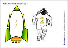 Here's a set of rocket and astronaut number matching cards from Space Preschool, Space Activities, Counting Activities, Kids Learning Activities, Preschool Math, Number Matching, Matching Cards, Space Classroom, Classroom Themes