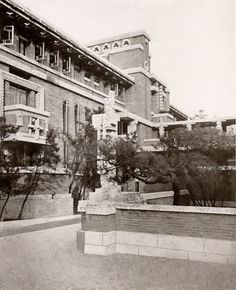 Imperial Hotel, Tokyo Japan | Frank Lloyd Wright | The Architectural Record (April 1923) Imperial Hotel, Frank Lloyd Wright Homes, Arcology, Breezeway, Ih, Tokyo Japan, Commercial, Buildings, Paradise