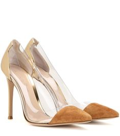 Gianvito Rossi gold metallic leather and transparent pumps
