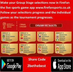 FIFA World Cup 2018. Download the FireFan live sports game app to your mobile and make your Winner and Runner Up predictions for the Group Stages and play along with them as they progress through the tournament. Will one of your choices be the last team standing?