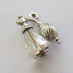 Vintage Sterling and Crystal Faceted Perfume Bottle Atomizer Charm For Bracelet..