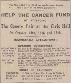 Help the Cancer Fund. 9 October, 1925
