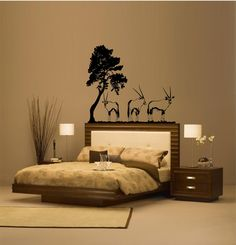 African Savannah Wall Sticker Decoration Great Trees With - Wall decals animalsafrican savannah wall sticker decoration great trees with
