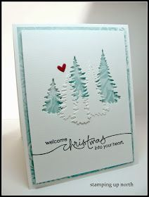 Welcome Christmas. (stamping up north) - - Since I seem to have left fall cards lately and moved onto Christmas cards.don't ask me why, I have no idea. fall seems like it just began.I made another for The Cutting Edge Challenge. Homemade Christmas Cards, Christmas Cards To Make, Homemade Cards, Christmas Crafts, Christmas Trees, Holiday Cards, Cricut Christmas Cards, Christmas Deco, White Christmas