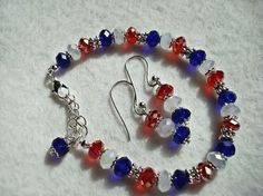 Red white and Blue bracelet earrings set 4th by MicheladasMusings,: