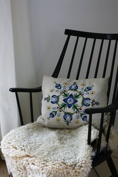 Vintage Scandinavian Pillow with blue floral embroidery
