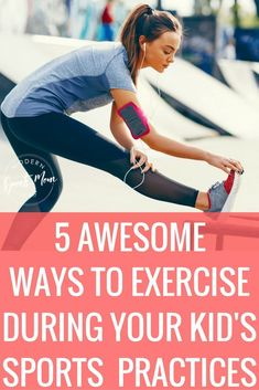5 Ways to Exercise During Your Kid's Practice-Whether you stay at home, or work all day, getting exercise in as a mom can be tough! Sports moms have even less time to incorporate a healthy living routine. If you're stuck at our kid's sports practices several times a week, take full advantage of the time! These work out tips can help you find your motivation! #sportsmom #fitness #momswhoexercise #momworkout #workout #stayfit #momlife