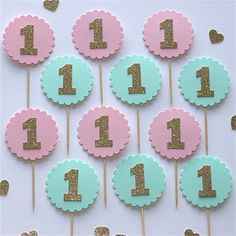 1st Birthday Cupcake Toppers baby pink and gold glitter Set of