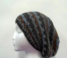 Knit Slouch Beanie brown gray brown black  acrylic by CaboDesigns, $26.00