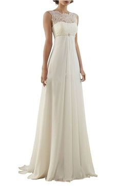 Find More Wedding Dresses Information about 2016 Simple Long Empire Waist Lace Chiffon Sleeveless Maternity Beach Reception Wedding Dresses Bridal Gowns For Pregnant Women,High Quality gown evening dress,China dress patterns evening gowns Suppliers, Cheap dresses ireland from cecelle store on Aliexpress.com