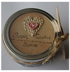 Sugar Cookie Hand Scrub: What you need: 1 cup brown sugar 1 cup white sugar 1 cup vegetable oil 2 1/2 tbsp. vanilla extract 2 tbsp. nutmeg 2 tbsp. cinnamon 2 tbsp. ginger  What to do: Mix together all of the ingredients in a bowl, except for the vegetable oil. Pour in the vegetable oil a little at a time, stirring the mixture as you go. When finished, the consistency should be thick and all ingredients should be completely mixed in. It should smell just like a sugar cookie!