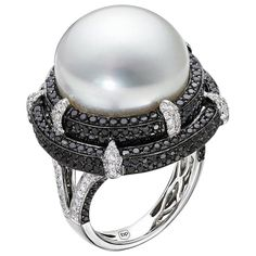 Black Diamond and South Sea Pearl Set in 18 Karat White Gold - Set 18 Karat Modern Diamond,black Diamond,south Sea Pearl Gold Pearl Jewelry, Lotus Jewelry, Pearl Rings, Jewelry Box, Gemstone Rings, Pearl And Diamond Ring, Pink Ring, Gold Ring, Pearl Set