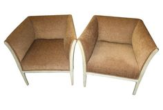 French Parchment Club Chairs, Pair