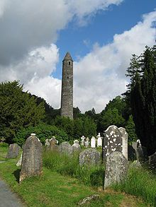 """The Round Tower"" at Glendalough, Ireland. In a glacial valley renowned for its Early Medieval monastic settlement founded in the 6th century and partly destroyed in 1398 by English troops"