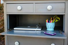 remove a drawer and add a hinge to its face for a mini desk or buffet tray #DIY