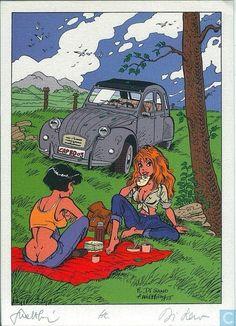 citroen 2CV art Classic Hot Rod, Classic Cars, Funny Jokes And Riddles, Psa Peugeot Citroen, 2cv6, Cartoon Monsters, Ligne Claire, Mobile Art, Bd Comics