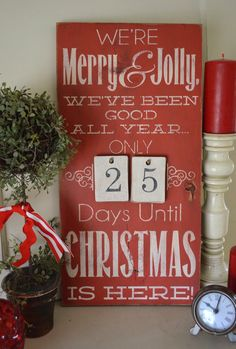 Distressed Wood Word Christmas Countdown by Original Designer ChippyPaintDesigns  We're Merry  Jolly, We've Been Good All Year Advent Sign