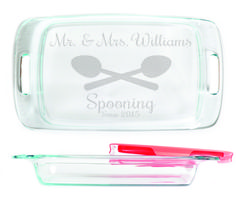 Baking Dish - Mr & Mrs. Spooning personalized with Date